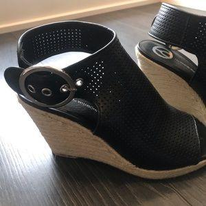 Soft Leather Black Espadrilles Platform Sandal 7